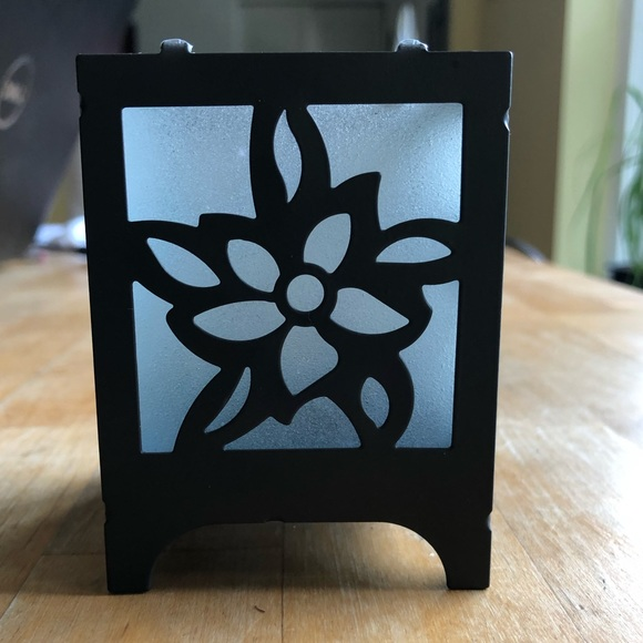 Other - Gunmetal & Flower Frosted Glass Candle Holder